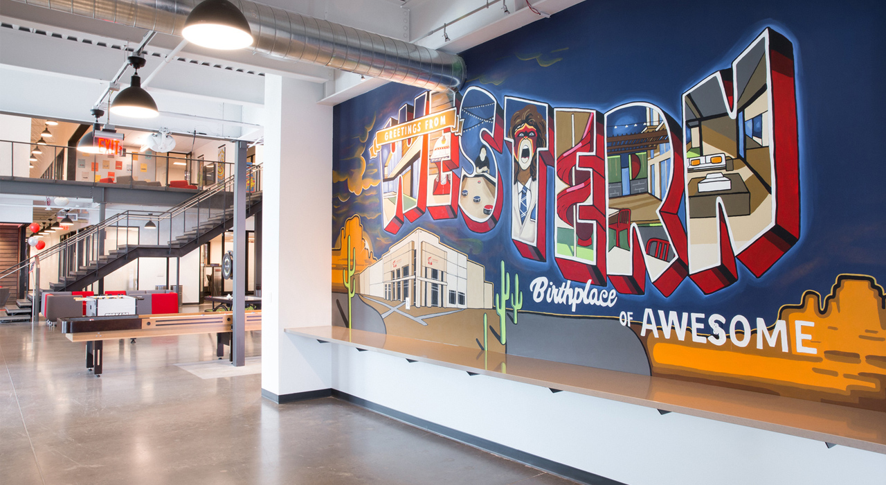Western Windows Systems branding wall