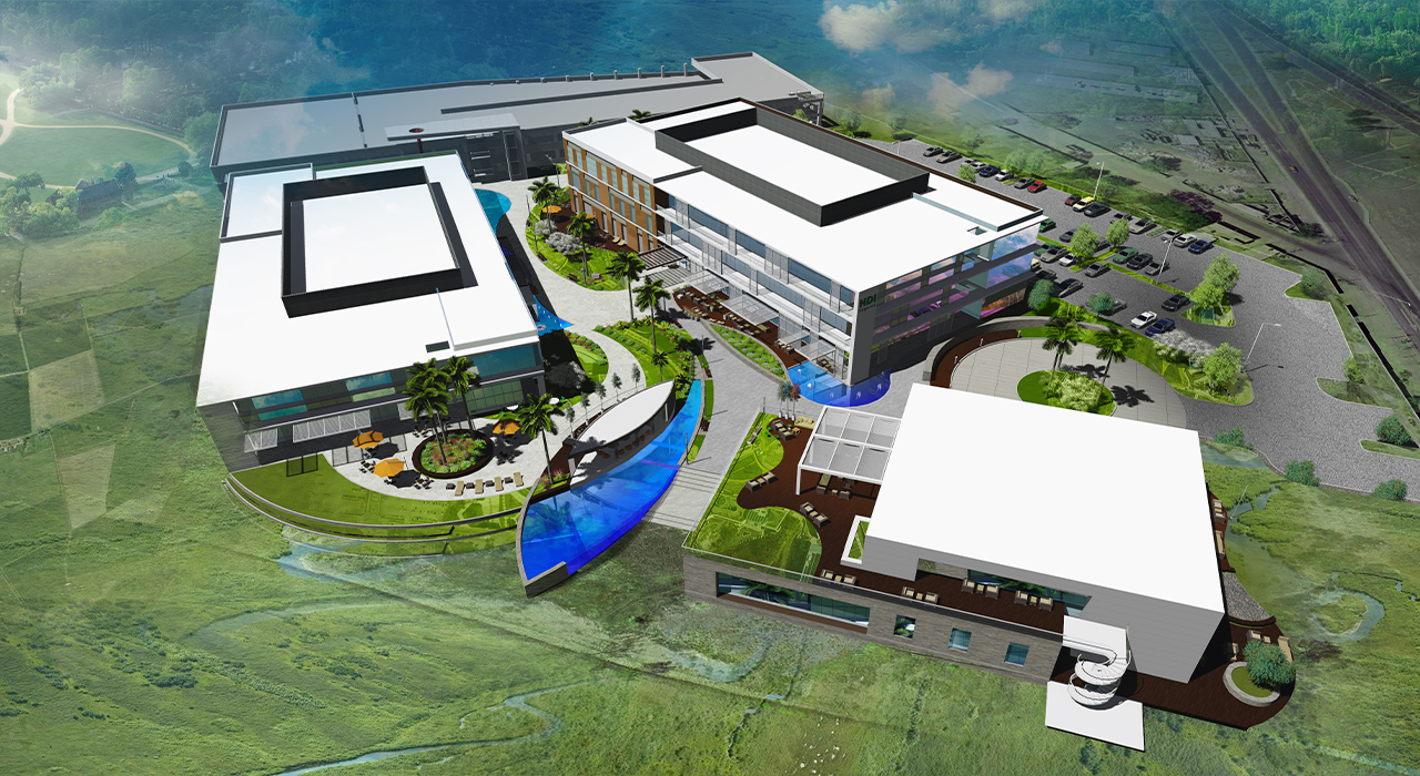 Creative office campus rendering aerial shot
