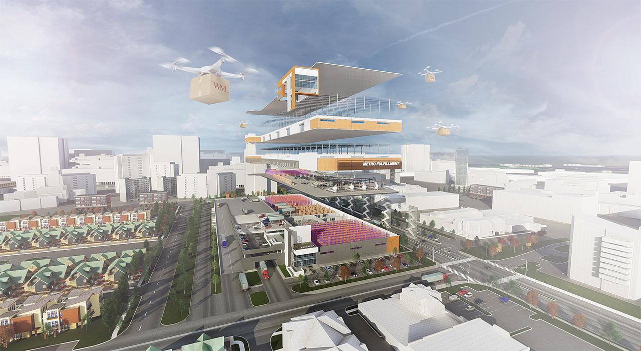 Multistory industrial building rendering
