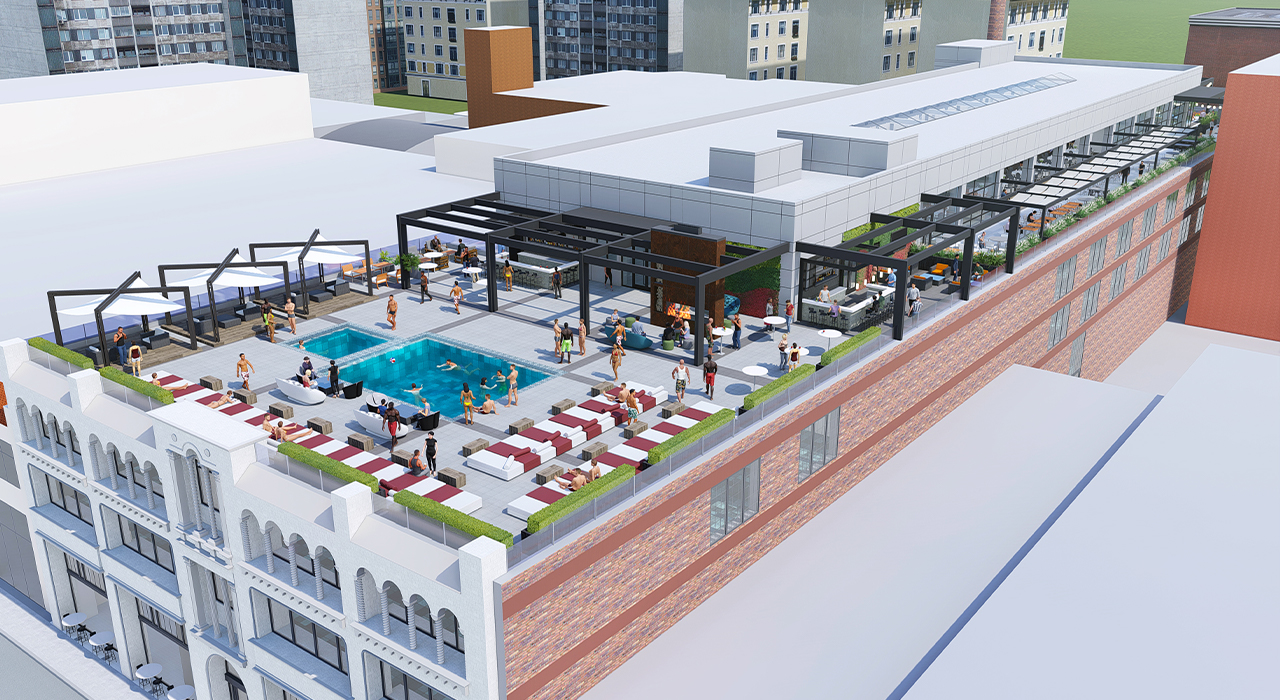 Mixed-use complex rooftop rendering