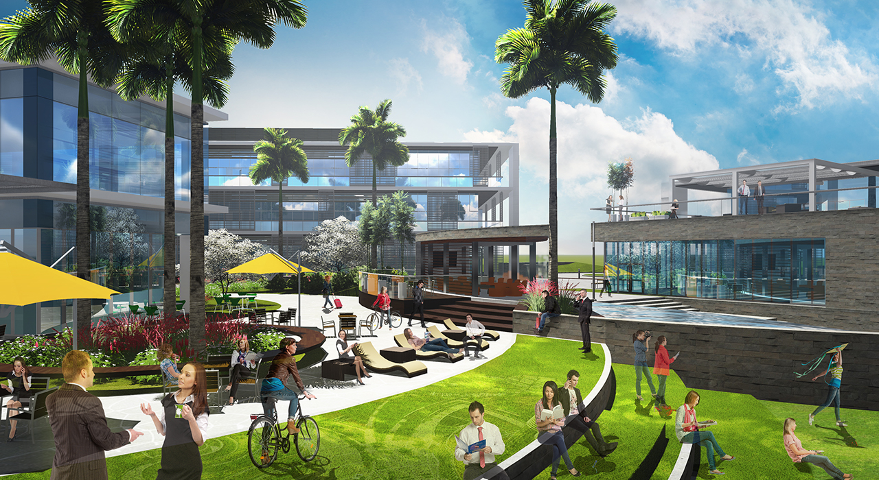 Creative office campus rendering outdoor space