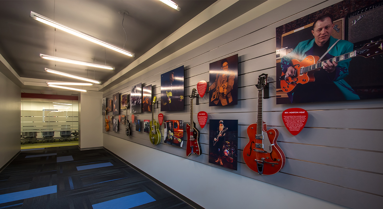 Fender corporate headquarters gallery wall
