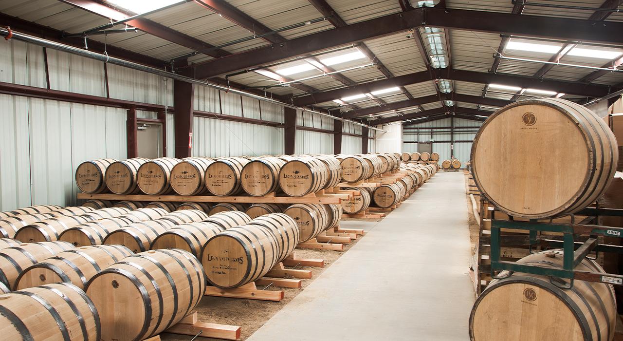 Leopold Bros. wine barrel storage warehouse