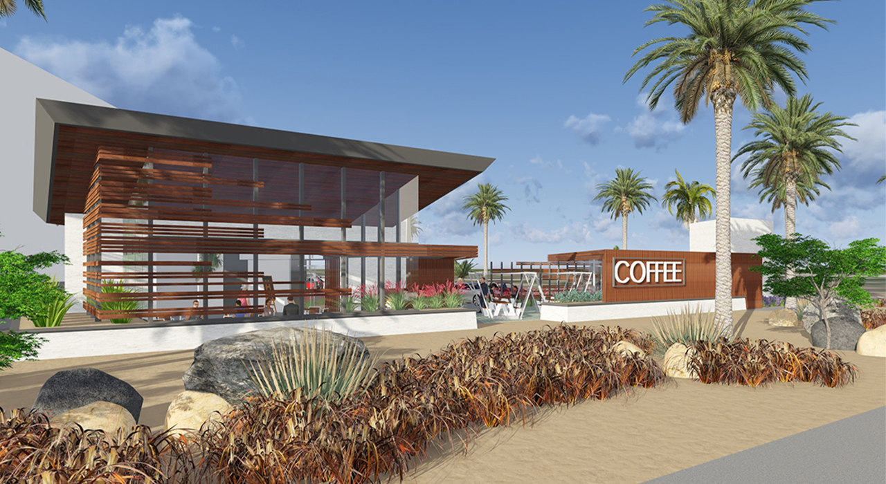 Coffee shop rendering entrance