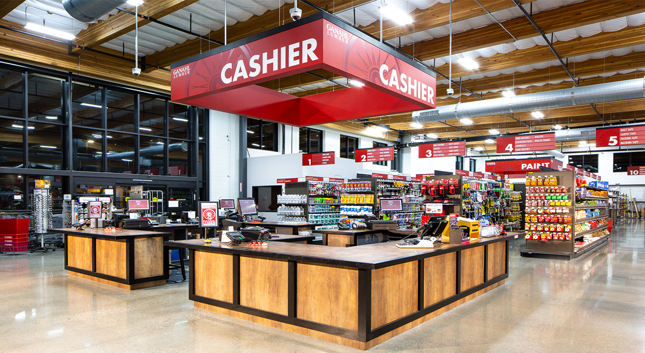 Ganahl Lumber retail store checkout counter