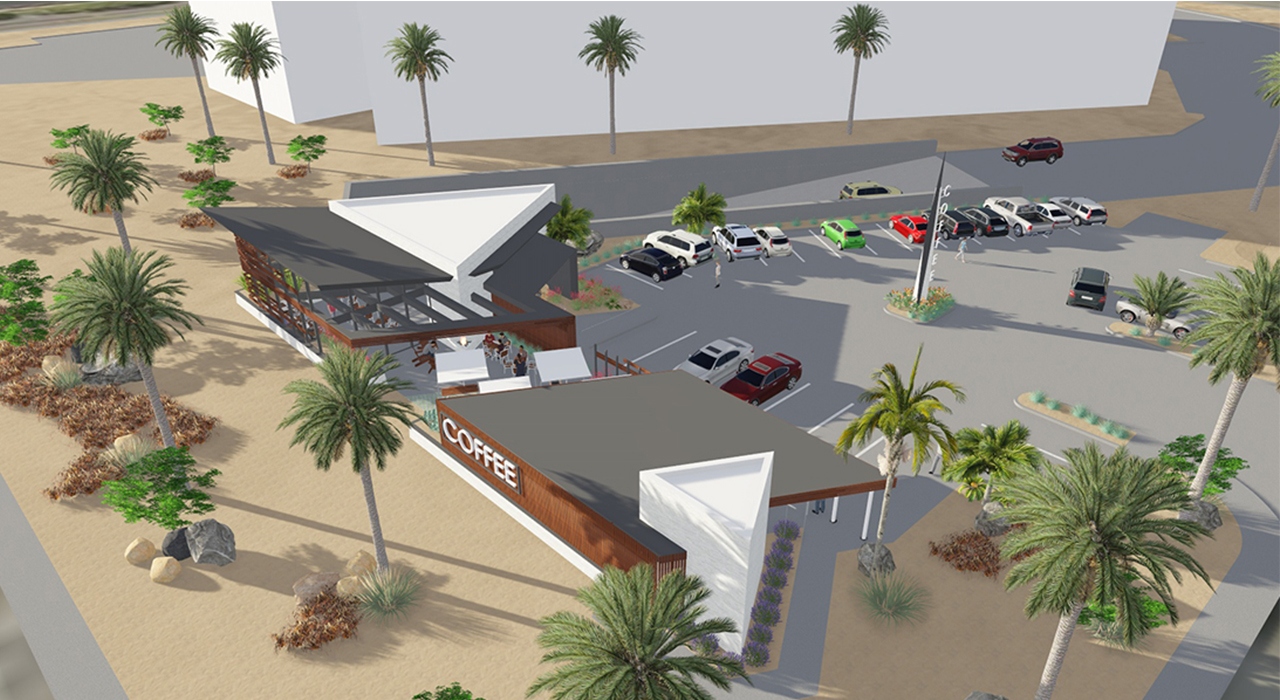 Coffee shop rendering aerial view