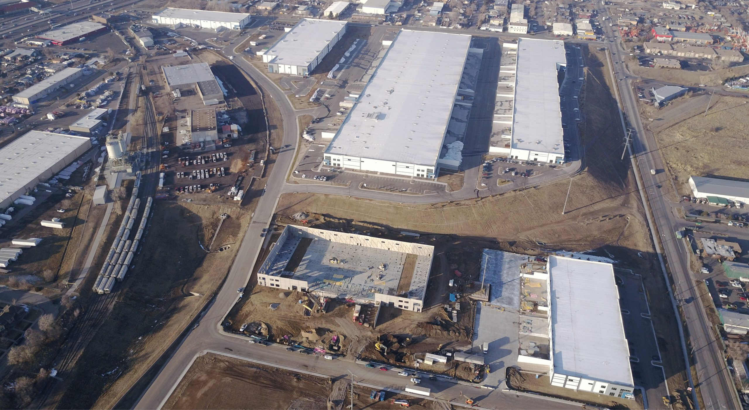 Crossroads Commerce Park industrial development aerial shot